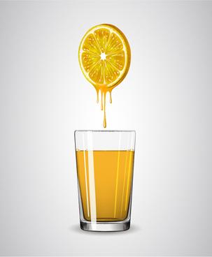 lemon juice vector set