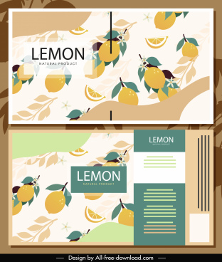 lemon label template classical flat fruits decor