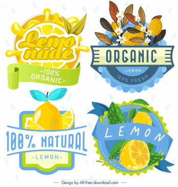 lemon label templates colorful classic design