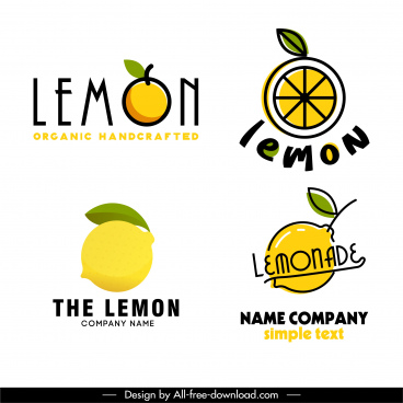 lemon logo templates bright colored flat handdrawn sketch