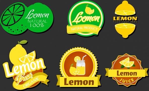 lemon logotypes various colored shapes isolation