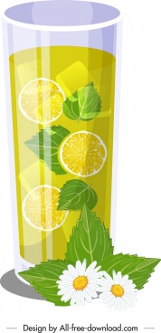 lemon mint juice icon glass icon modern design