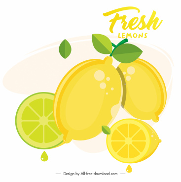 lemon painting bright colored flat sketch