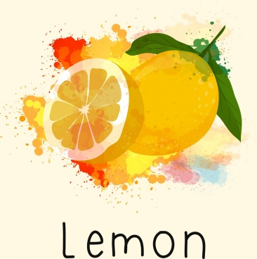 lemon painting grunge watercolor decoration