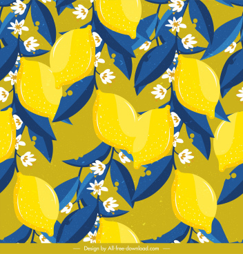 lemon pattern colorful classical blooming decor