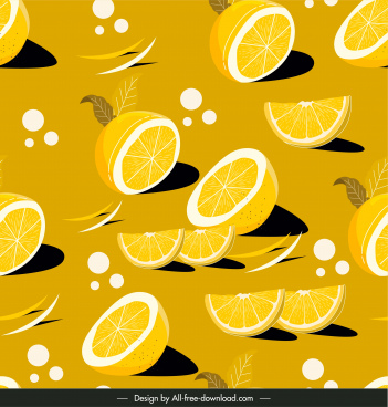 lemon pattern template bright classical handdrawn slices sketch