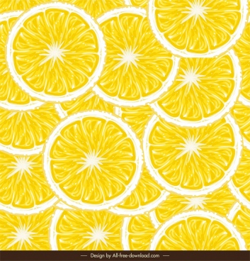 lemon slices pattern bright yellow flat circles decor