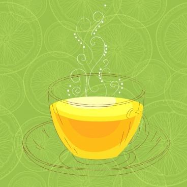 lemon tea advertisement cup sketch green slices background