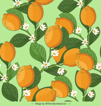lemon tree pattern colorful classic decor blooming sketch