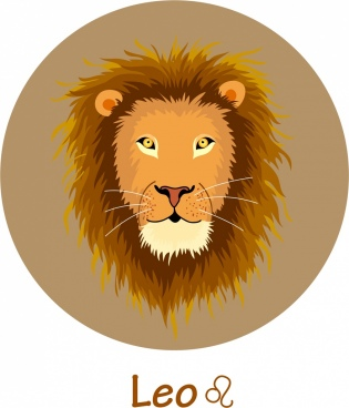 leo zodiac icon lion face decor circle layout