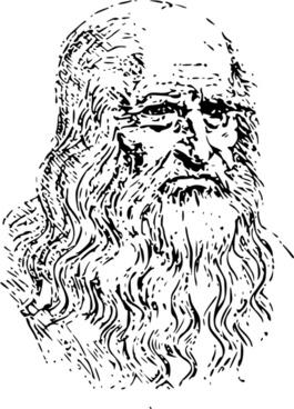 Leonardo Da Vinci Self-portrait Outline 2
