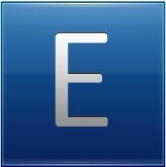 Letter E blue