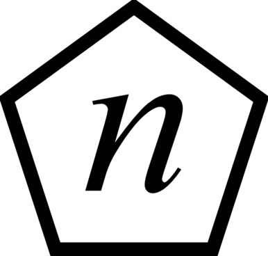 Letter N In A Pentagon clip art