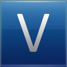 Letter V blue