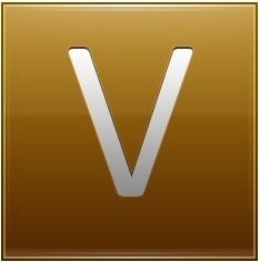 Letter V gold