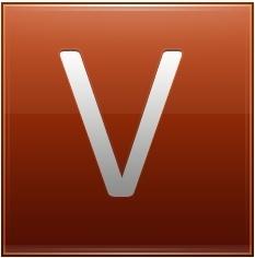 Letter V orange