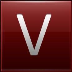Letter V red