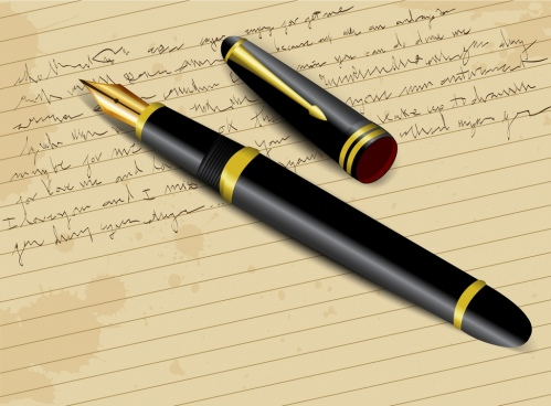 letter writing background 3d pen icon paper backdrop