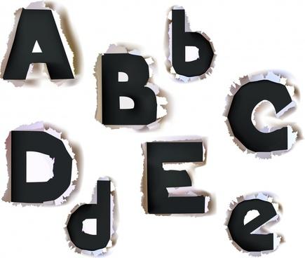 alphabet design elements ragged paper design