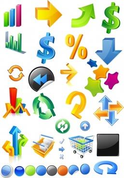 li dimensional symbols icons vector