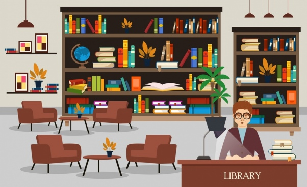 library drawing bookshelves librarian chairs icons