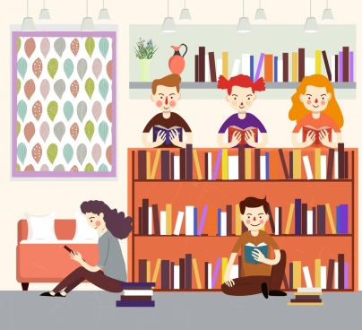 library drawing readers bookshelf icons colored cartoon