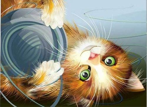 lie down cute kitten vector