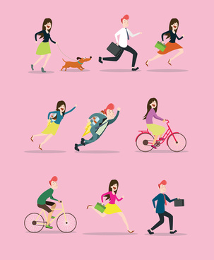 life activities icons illustration in flat colored style