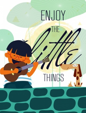 life banner joyful boy guitar pet icons decor