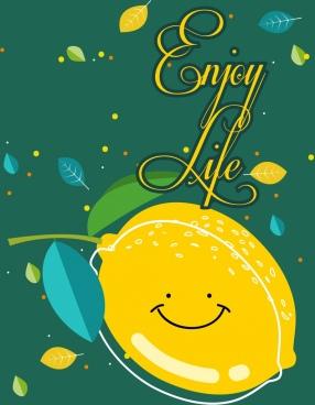 life banner lemon leaves decor stylized design