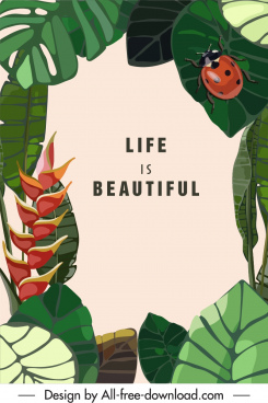 life banner nature theme classic plant ladybug sketch