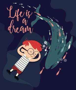 life banner sleeping boy ocean whale cartoon design