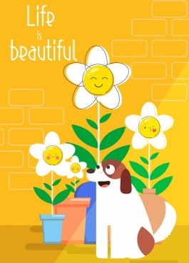 life banner stylized flowers dog icons cute design