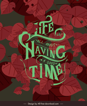 life banner template retro dark red leaves decor