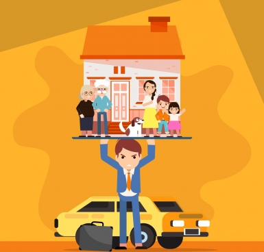 life burden background man lifting house family icons