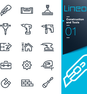 life elements outline icons set vector