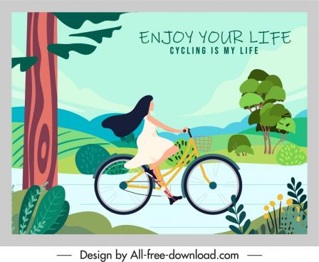 life enjoy banner colorful flat cartoon motion sketch