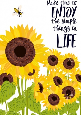 life enjoy banner sunflowers honeybees icons decoration