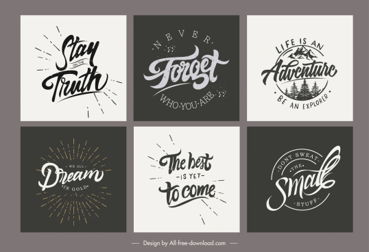 life inspiration quotation templates classic calligraphic design