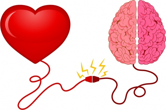 life mechanism concept heart brain electricity icons