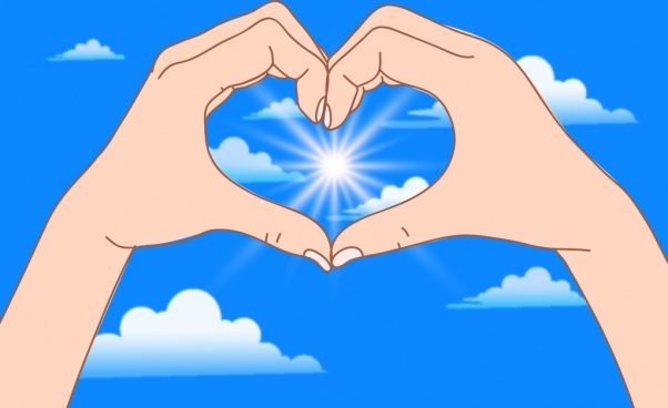 life message painting hand heart shape sunlight icon