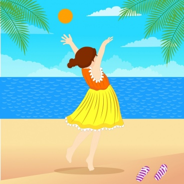 life painting joyful girl beach icons colorful decor