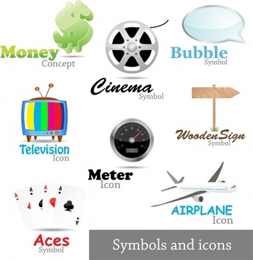 icons symbols templates shiny colored modern design