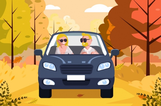 lifestyle background couple car icon cartoon design