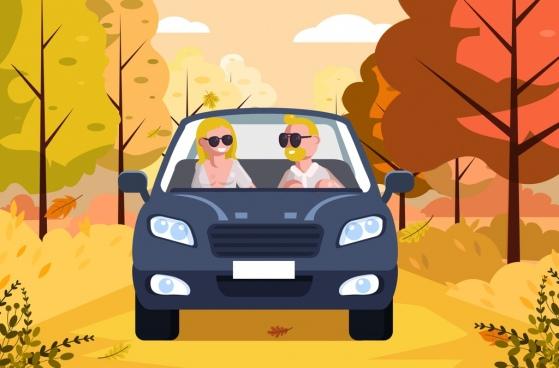 lifestyle background couple car icon cartoon design