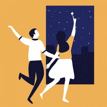 lifestyle background dancing couple night sky cartoon sketch