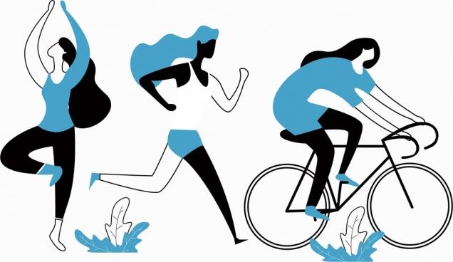 lifestyle background exercising women icons cartoon sketch