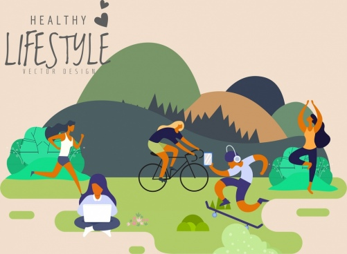 lifestyle background human park activities icons classical design