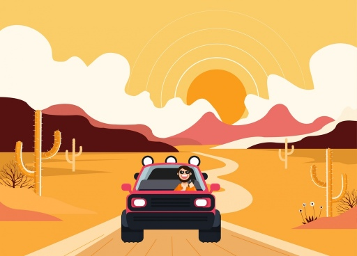 lifestyle background man driving car desert icons