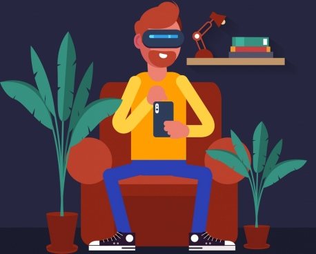 lifestyle background man enjoying smartphone technology cartoon design